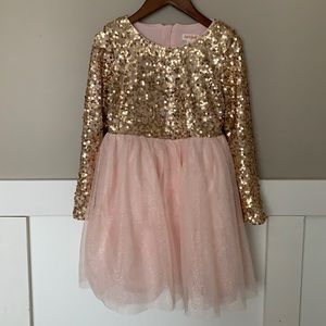 Cat & Jack Sequin Party Dress Pink Gold 6X